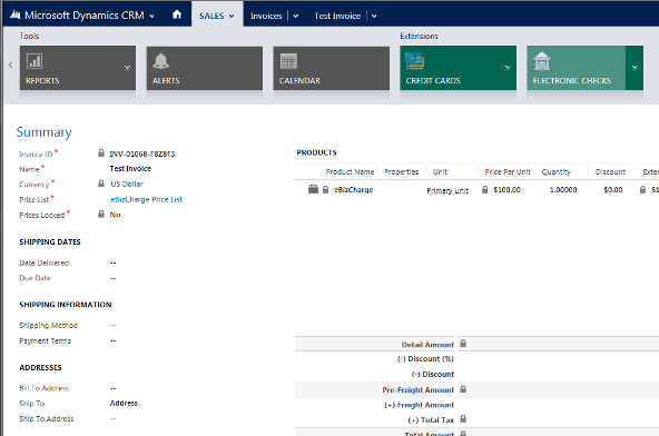 Dynamics CRM Credit card processing