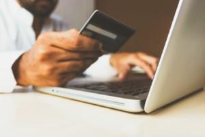 man credit card laptop online transaction